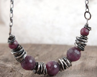 ruby silver necklace