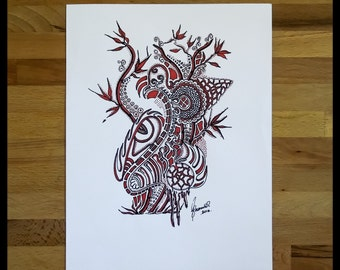 Original Abstract Pen and Ink Drawing on Paper // The Red Eye // House Warming Gift // Ready to Frame Art
