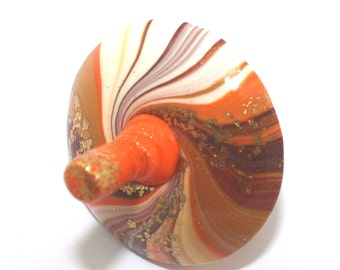 Dreidel gift Hanukkah gift, spinning top Chrismukkah toy gift judaica, small elegant polymer clay handmade stocking stuffer, orange ombre