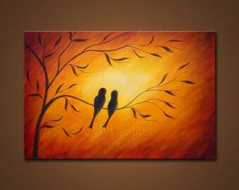 Love Birds- Abstract Landscape Painting Print. Bird Art. Free Shipping inside US.