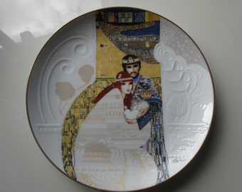 """Original hand painted art plate, """"Bathsheba and Solomon"""", Knowles limited edition plate."""