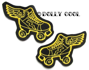 Roller Derby patch Pair of winged Yellow Skate by Dolly Cool. More and custom cols available