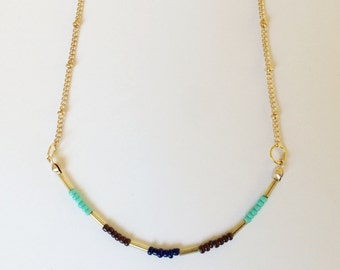 Minimalist necklace, Gold beaded, Summer necklace, Festival necklace, Girls gift, Woman's gift, Blue and gold necklace, Delicate necklace