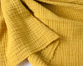 "Mustard Wrinkled Cotton Gauze, Double Gauze, Mustard Color Gauze, Crinkle Gauze, Yoryu Gauze - 59"" Wide - By the Yard 101091"