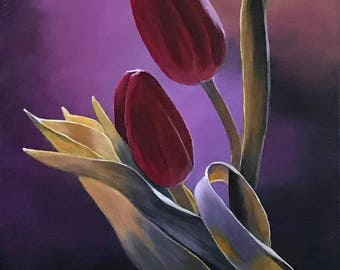 Painting on Canvas, Acrylic Painting of Flowers, Original Painting, Flower Painting, Landscape Painting, Wall Art, Canvas Art, Purple