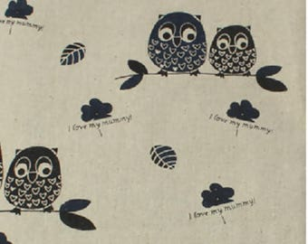 Cotton fabric and linen pattern owls on beige background