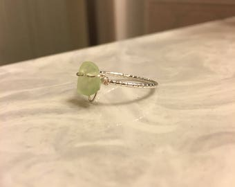 Small Seafoam Green Beach Glass Ring