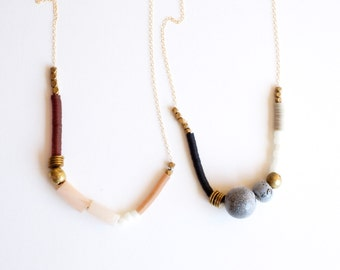 Heira Necklace in Black or Maroon Sequin, marble, brass beads, ceramic porcelain