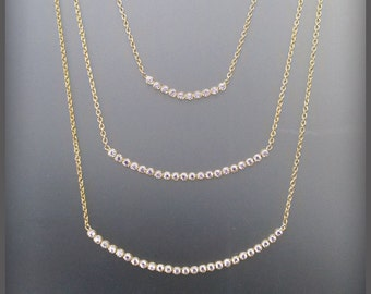 "Large Gold and Diamond bezel curved bar Necklace ""100% Satisfaction Guarantee or Money Back"""