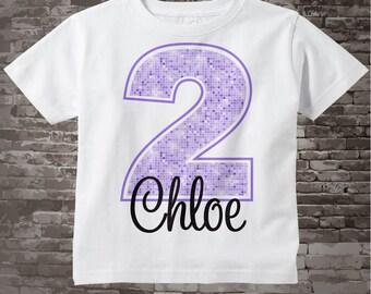 Second Birthday Shirt, Light Purple 2 Birthday Shirt, Any Age Personalized Girls Birthday Shirt Light Purple Age and Name 03132014j