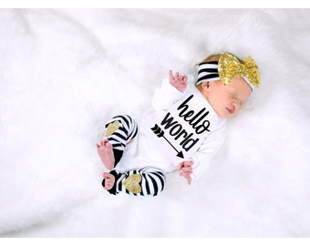 Baby Girl Clothes, Baby Girl Coming Home Outfit, Newborn Girl Outfit, Baby Gift, Baby Shower Gift, Hello World Baby, Newborn Hospital Outfit
