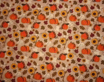 Tan Harvest/Fall Pumkins/Sun Flowers Cotton Fabric by the Yard