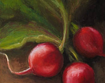 Giclee, Archival, Matted Print of an Original Oil Pastel Painting of Radishes