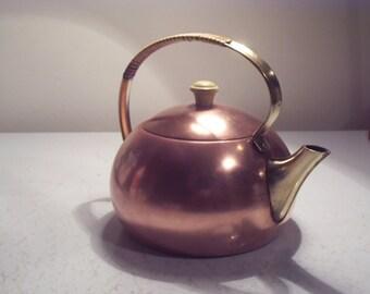 teapot vintage red copper