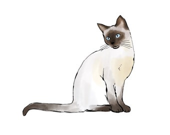 siamese cat, siamese cat print, drawing and watercolor, digital, downloadable print of a siamese cat, art for cat lover, cat art, cat print