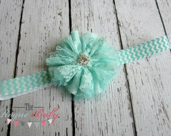 Aqua / Mint & White Chevron with Lace Flower Headband -  Photo Prop - Newborn Infant Baby Toddler Girls Adult Lace