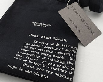 Sylvia Plath: Literary Tote Bag | The rejection letter to Amnesiac, by The New Yorker. Literary gift!