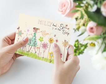 Greeting Card with girl walking among flowers, catching butterflies. Feminine and colourful hand illustrated card