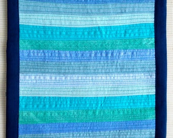 The Colors of The Ocean in a Wall Quilt. Mini Art Quilt