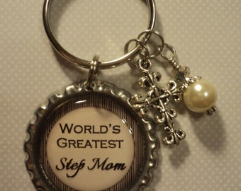World's Greatest Step Mom key chain with charms
