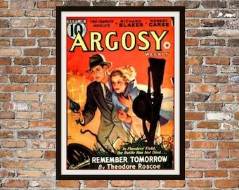 Pulp Fiction Print Poster, Argosy Vintage Magazine Print, Vintage Print, Dime Magazine, Argosy Magazine Pulp Fiction Art Item 0198