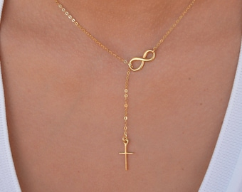 Sideways Infinity Cross Necklace, Gold Infinity Necklace, Cross Jewelry, Confirmation Gift, Gold Cross Necklace Women, Infinity Gift for Her