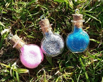 Glitter Vial/Bottle Charm Necklaces