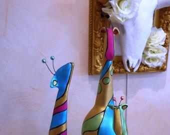 Trinity family giraffe Sculpture on foot paper mache