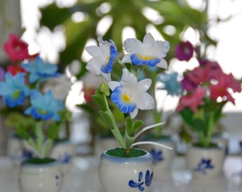 Polymer Clay Flowers, handmade by Japanese Clay, White and Blue Catteya Orchid, small clay flower