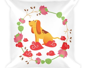 Happy Chinese New Year 2018 Year of The Dog Adorable Red Illustration Design Square Pillow