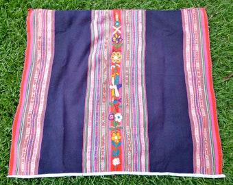Original Vintage Peruvian handwoven Manta w/ flowers, Navy Blue Manta, Vintage Home decoration, Ceremonial blanket, Peruvian Shaman Manta