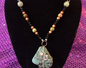Wire Wrapped Leland Blue Stone Necklace