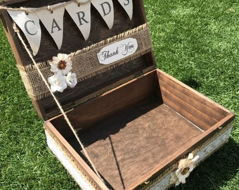 """Rustic Wedding Card Box with """"Cards"""" Banner 