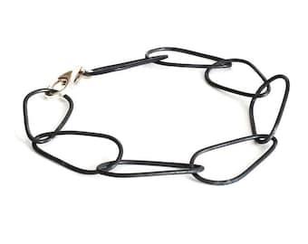 Black Silver Bracelet, Silver Chain Bracelet, Link Bracelet, Oxidized Silver Bracelet, Chain Bracelet, Silver Bracelet, Womens Bracelet.