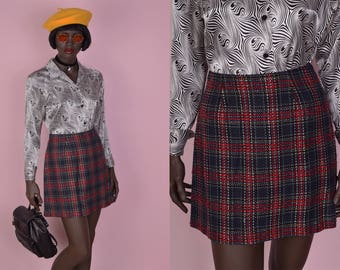 90s Plaid High Waisted Skirt/ US 7/ 1990s