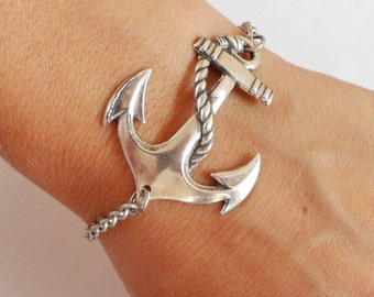 Steampunk Anchor Bracelet Sterling Silver Ox Finish Nautical Bracelet Medium Anchor