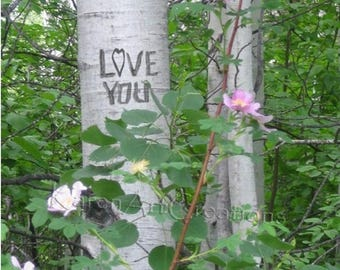 Love You, Digital tree carving with message, Aspen Trees, Instant Digital download, Under 5 dollars, Scenic Photography, Gift