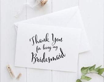 Bridesmaid thank you wedding day card, maid of honor, wedding party card, personalized wedding thank you cards