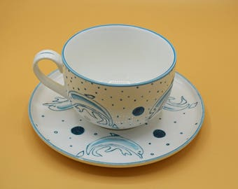 "Cup and saucer set ""Dolphin"""