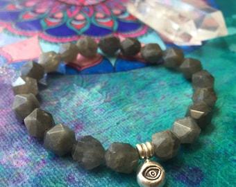 Third Eye Open | Spiritual Junkies | Labradorite Star Nuggets + Sterling Silver 3rd Eye | Stackable | Mala | Yoga + Meditation Bracelet