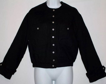 ANNE KLEIN Jacket *Black* Size M *Long Sleeves* Button Up * Motorcycle Style