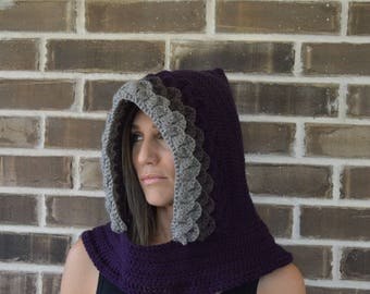 Crochet Dragon Scale Hat // Adult Size // Hood // Dragon Cowl