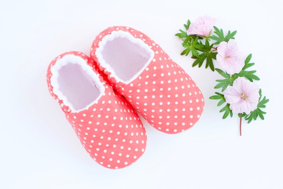 Caral and white dot soft sole baby girls shoe, pre walkers