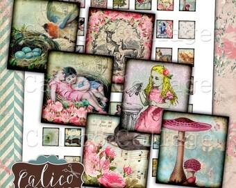 Printable, Simply Spring, Scrabble Images, Digital Collage Sheet, Woodland, Printable Ephemera, Animals, Digital Collage, Scrabble Size