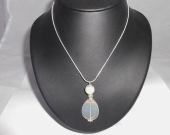 Silver snake chain necklace 925 and natural Green Jade pendant