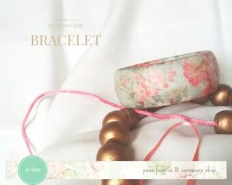 Vintage Bracelet / Découpage bracelet stile Vintage / Serviettenweinlese -Stil Armband / Decoupage braccialetto stile vintage