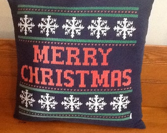 Holiday Pillow Cover - 16 X 16 - Merry Christmas Pillow Cover