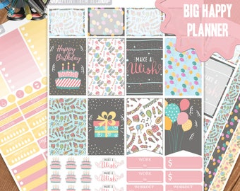 Birthday Planner Stickers Printable, Big Happy Planner Stickers, Weekly Planner Kit, Planner Stickers, Big MAMBI Planner Stickers,Big HP Kit