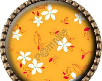 Bronze pendant Cabochon - Orange flowers (611)