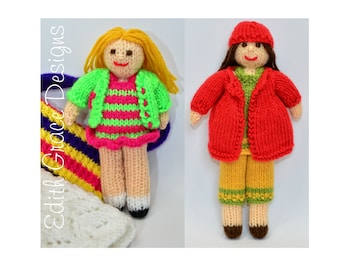 Small Rag Dolls Knitting Pattern, Toy Knitting Pattern, Knit Yarn Dolls, Dolls Clothes, Doll Pattern, Doll in a Bag, Knit Toy, Rag Dolls
